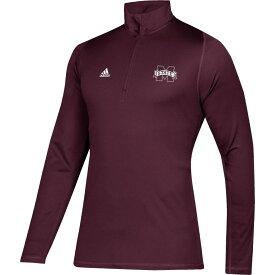 アディダス adidas メンズ トップス ハーフジップ【Mississippi State Bulldogs Maroon Free Lift Quarter-Zip Shirt】