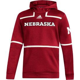 アディダス adidas メンズ パーカー トップス【Nebraska Cornhuskers Scarlet Under The Lights Sideline Pullover Hoodie】
