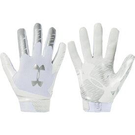 アンダーアーマー Under Armour ユニセックス アメリカンフットボール レシーバーグローブ グローブ【Adult F7 Football Receiver Gloves】White/Silver