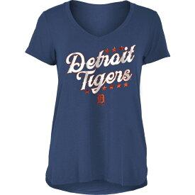 ニューエラ New Era レディース Tシャツ Vネック トップス【Detroit Tigers Navy Rayon Spandex V-Neck T-Shirt】