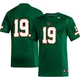 アディダス adidas メンズ トップス 【Miami Hurricanes #19 Green Replica Football Jersey】