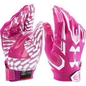 アンダーアーマー Under Armour ユニセックス アメリカンフットボール レシーバーグローブ グローブ【Adult F5 Receiver Gloves】Tropic Pink/White
