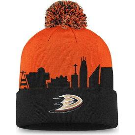 ファナティクス Fanatics メンズ ニット ポンポン ビーニー 帽子【NHL Anaheim Ducks Hometown Black Pom Knit Beanie】