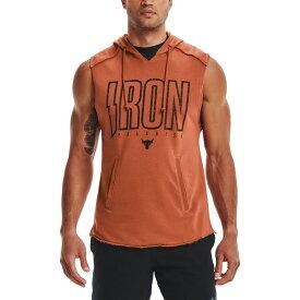 アンダーアーマー Under Armour メンズ ラクロス ノースリーブ トップス【Project Rock Terry Iron Sleeveless Hoodie】Orange/Black