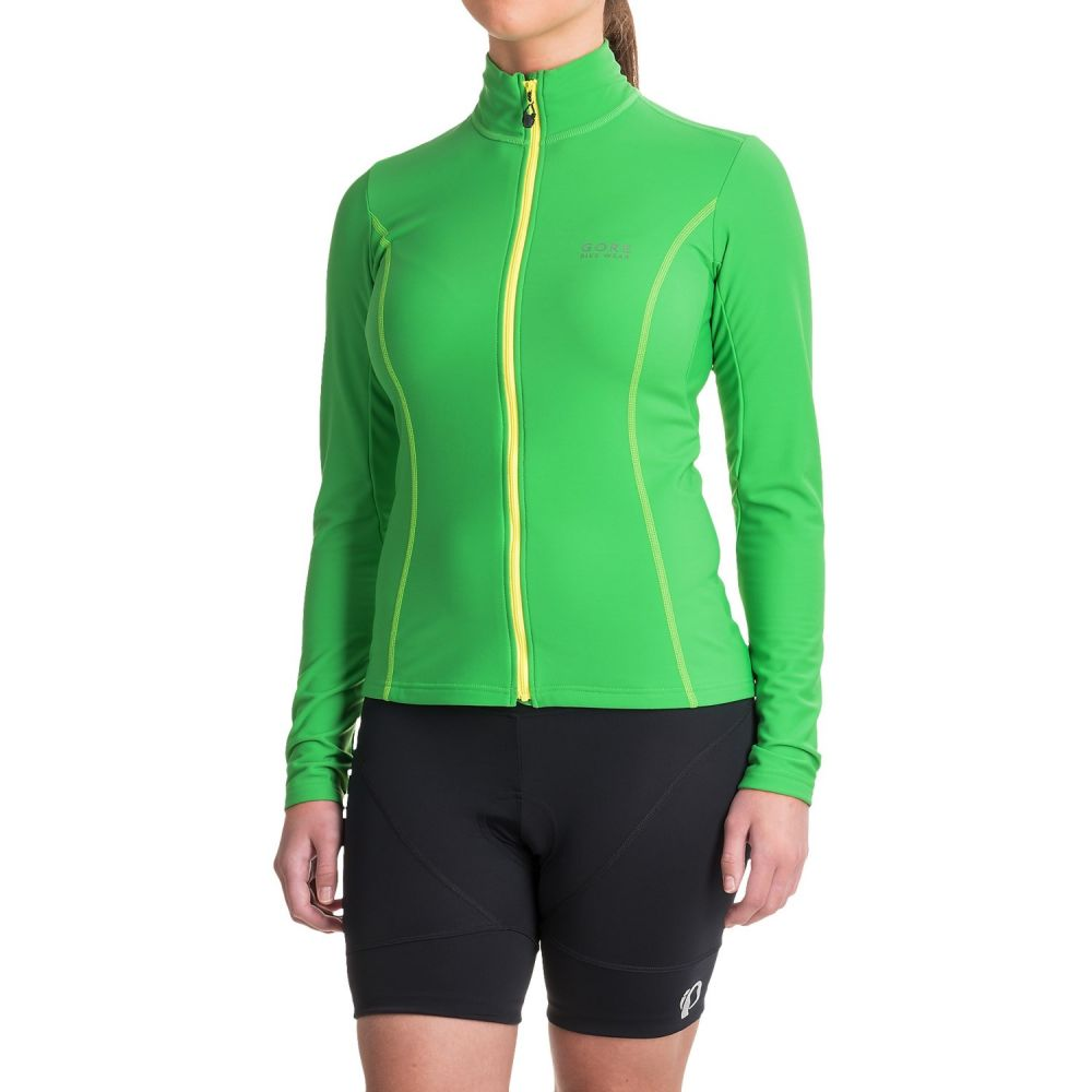 ゴアバイクウェア レディース 自転車 トップス【Element Thermo Cycling Jersey - Full Zip, Long Sleeve】Fresh Green/Neon Yellow