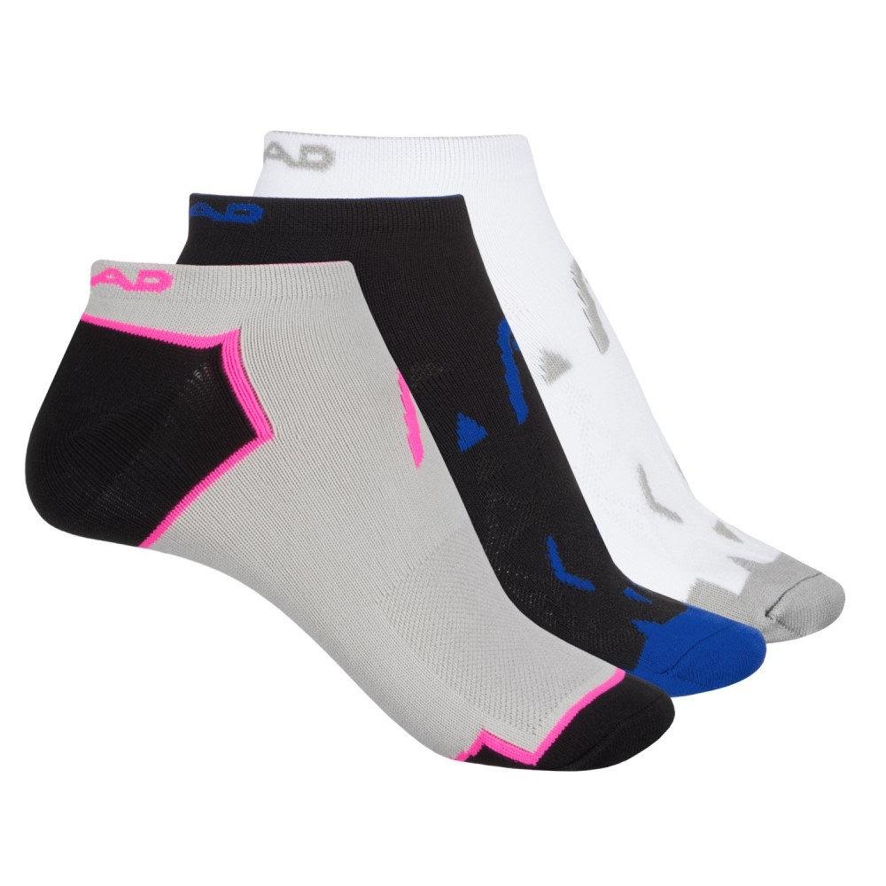 ヘッド レディース ランニング・ウォーキング【Micro No-Show Socks - 3-Pack, Below the Ankle】Black/White/Gray
