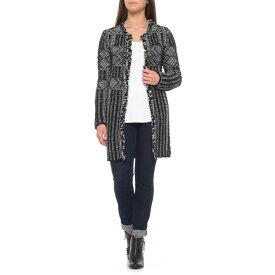 ココジオ CocoGio レディース トップス カーディガン Made in Italy Knit Print Fringed Cardigan  Sweater Black dd9ab3c2755