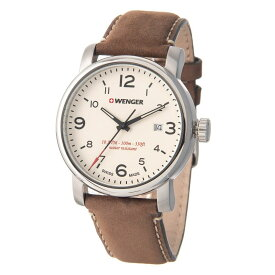 ウェンガー Wenger メンズ 腕時計【Urban Hipster Watch - 41mm, Leather Strap】Chrome/Brown