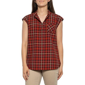 ペンドルトン Pendleton レディース ノースリーブ トップス【Red-Copper Jane Plaid Wool Popover Shirt - V-Neck, Sleeveless】Red/Copper Plaid