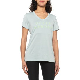 アンダーアーマー Under Armour レディース Tシャツ トップス【Tech Graphic T-Shirt - V-Neck, Short Sleeve】Atlas Green
