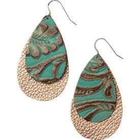 ワンワイルド One Wild レディース イヤリング・ピアス ジュエリー・アクセサリー【The Double Drop Leather Earrings - Large】Tooled Turquoise/Copper