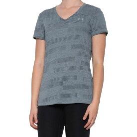 アンダーアーマー Under Armour レディース Tシャツ Vネック トップス【HeatGear DFO Velocity Jacquard V-Neck T-Shirt - Short Sleeve】Pitch Gray