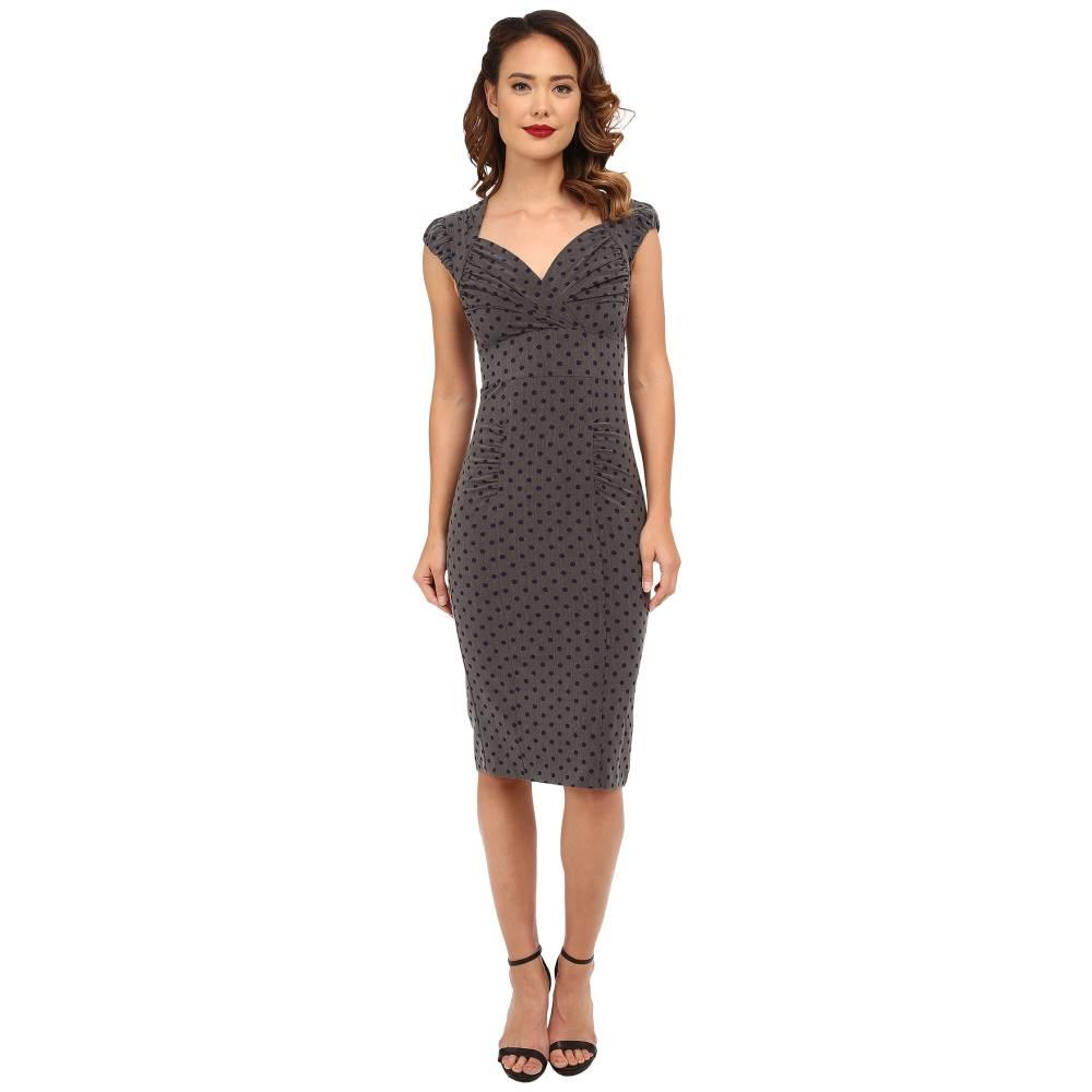 ストップスターリング レディース ワンピース・ドレス ワンピース【Esmee Fitted Dress】Grey/Navy Polka Dots