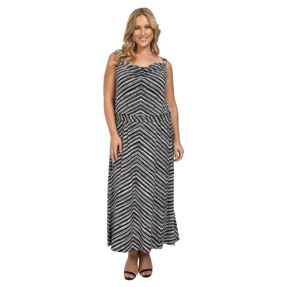 カルバンクライン レディース ワンピース・ドレス ワンピース【Plus Size Maxi Dress w/ Hardware】Black Stripe