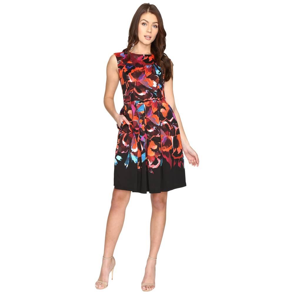 マギーロンドン レディース ワンピース・ドレス ワンピース【Techno Blossom Scuba Fit and Flare Dress】Black/Multi