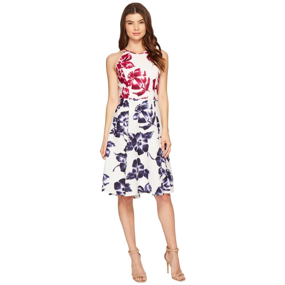 マギーロンドン レディース ワンピース・ドレス ワンピース【Drapey Linen Sketch Blossom Hi-Lo Fit & Flare Dress】White/Flambe