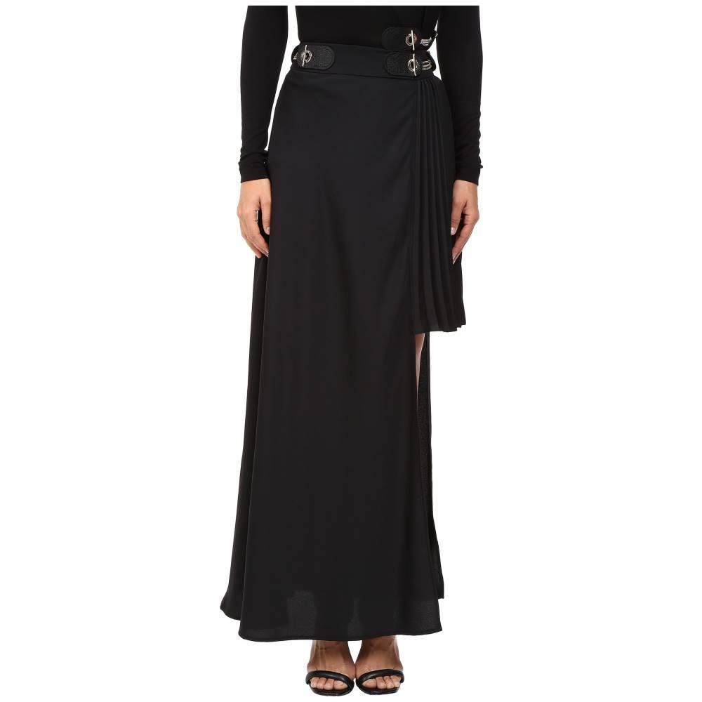 ヴェルサーチ レディース スカート【Long Asymmetrical Side Skirt】Nero