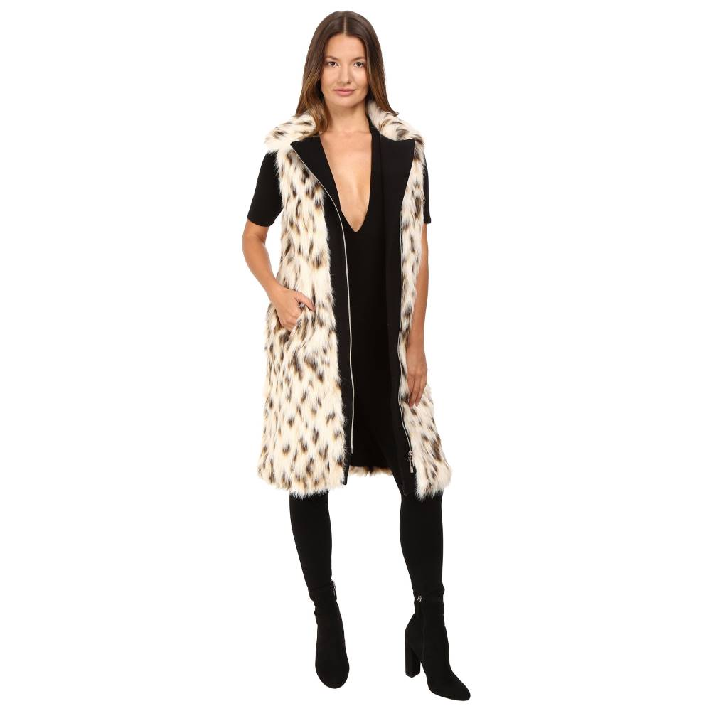 ヴェルサーチ レディース トップス ベスト・ジレ【Cheetah Fur Vest】Bianco Latte