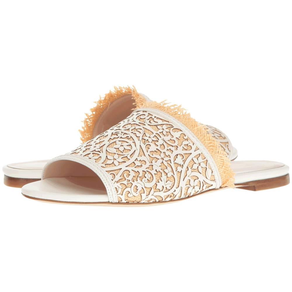 オスカー デ ラ レンタ レディース シューズ・靴 サンダル・ミュール【Charli】White Lasercut Leather/Beige Raffia