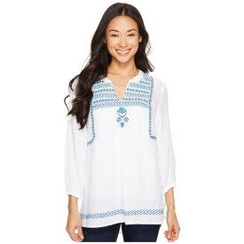 ハットレイ レディース トップス ブラウス・シャツ【Embroidered Blouse】White Royal/Turquoise Lariat