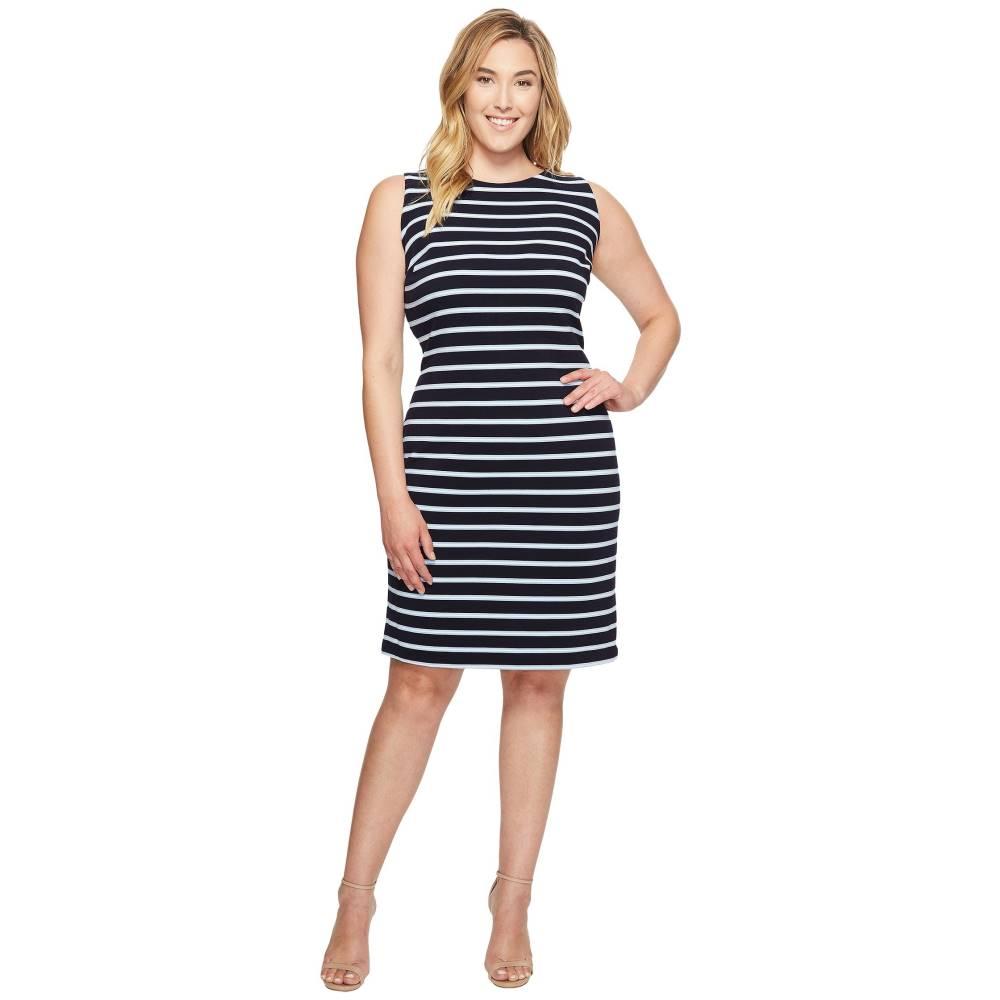 カルバンクライン レディース ワンピース・ドレス ワンピース【Plus Size Sleeveless Textured Stripe Dress】Navy/Iceburg/White