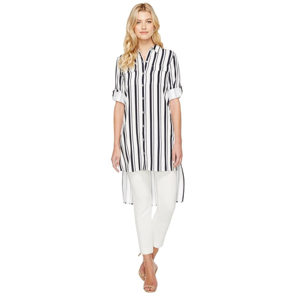 カルバンクライン レディース ワンピース・ドレス ワンピース【Stripe Roll Sleeve Tunic】Twilight/Cream