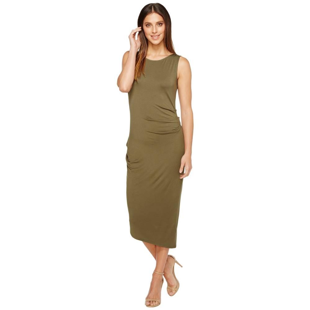カルバンクライン レディース ワンピース・ドレス ワンピース【Sleeveless Side Ruched Dress】Olive