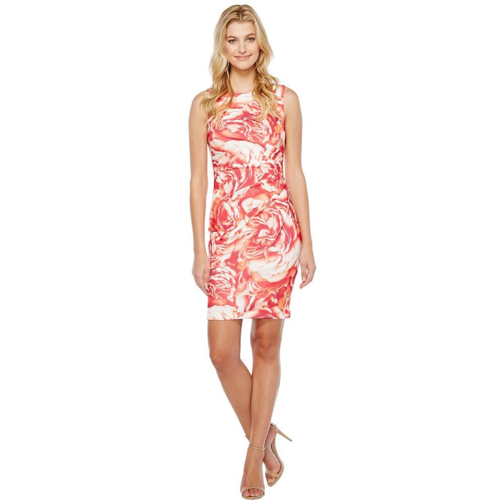 カルバンクライン レディース ワンピース・ドレス ワンピース【Blurred Floral Starburst Sheath Dress】Watermelon Multi