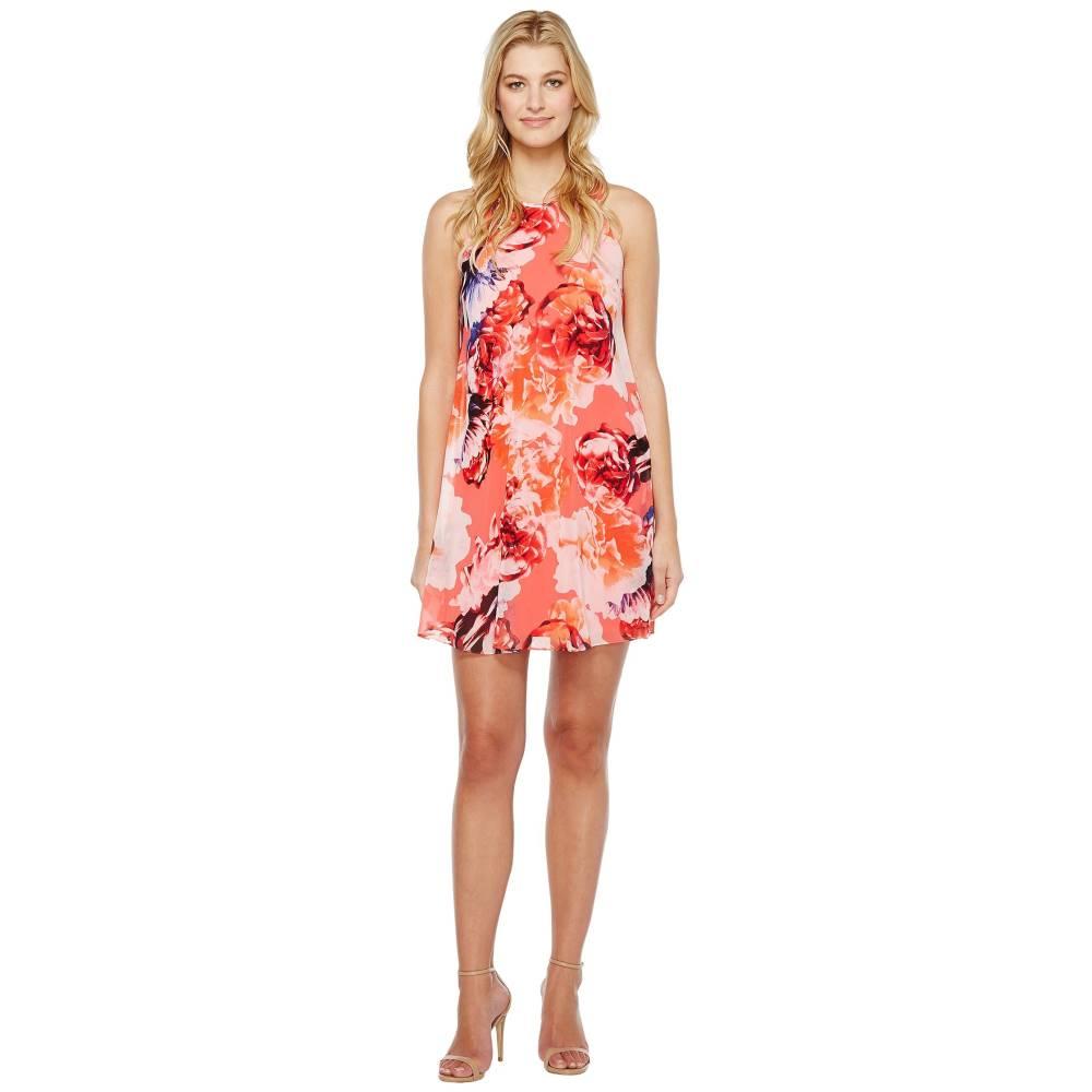 カルバンクライン レディース ワンピース・ドレス ワンピース【Floral Chiffon Trapiz Dress】Coral Multi