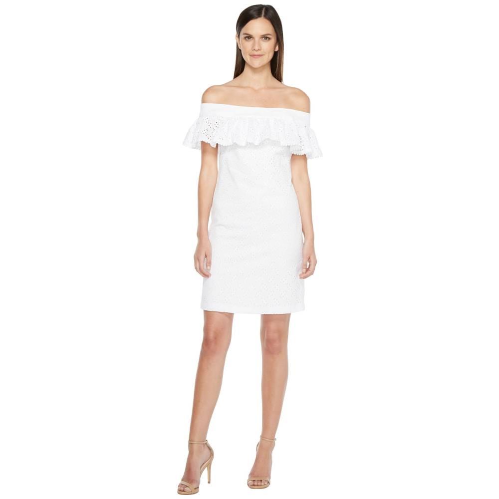 カルバンクライン レディース ワンピース・ドレス ワンピース【Off Shoulder Cotton Eyelet Dress】White