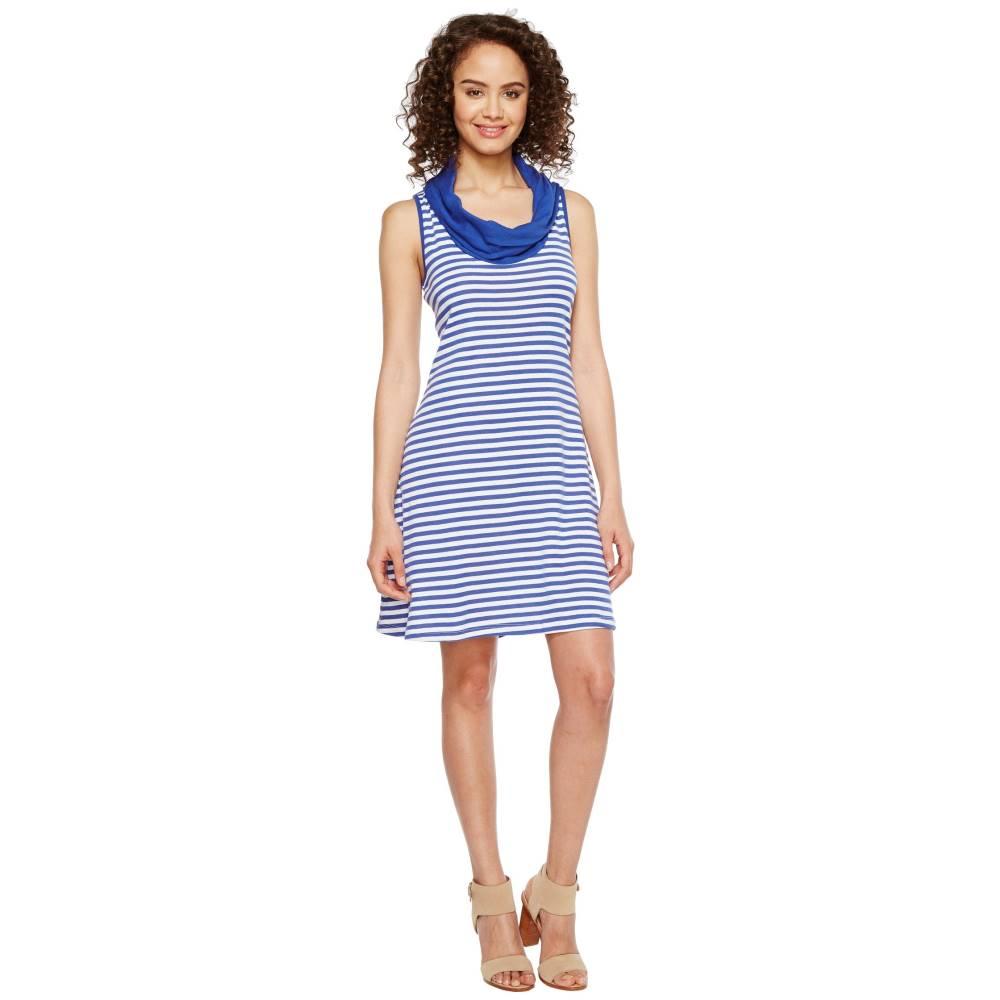 スリードッツ レディース ワンピース・ドレス ワンピース【Mykonos Stripes Cowl Neck Dress】Mystic Blue/White
