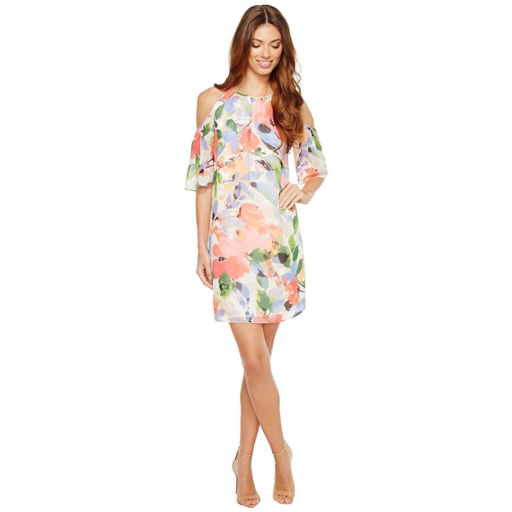 マギーロンドン レディース ワンピース・ドレス ワンピース【Chiffon Print Cold-Shoulder Shift Dress】Soft White/Bright Pink