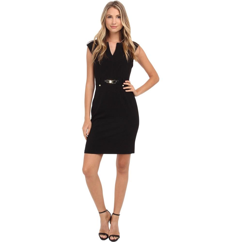 カルバンクライン レディース ワンピース・ドレス ワンピース【Shift Dress w/ Gold Hardware】Black