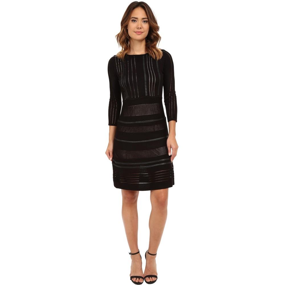 カルバンクライン レディース ワンピース・ドレス ワンピース【Sweater Dress Faux Leather Piping】Black