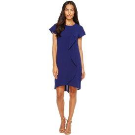 アドリアナ パペル レディース ワンピース・ドレス ワンピース【Gauzy Crepe Corkscrew Drape Shift Dress with Short Sleeves】Blue Sapphire