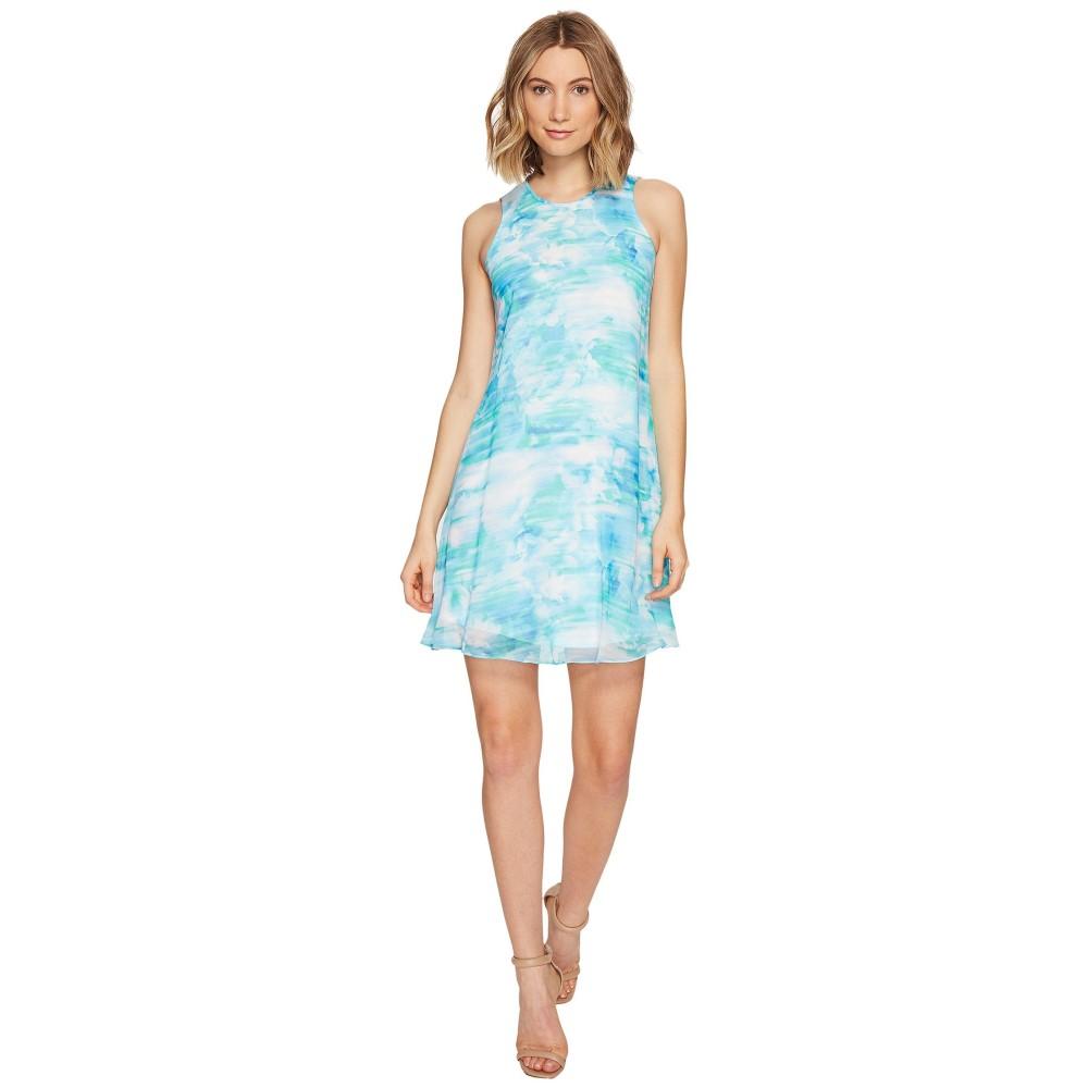 カルバンクライン レディース ワンピース・ドレス ワンピース【Blurred Print Trapiz Dress】Lagoon Multi