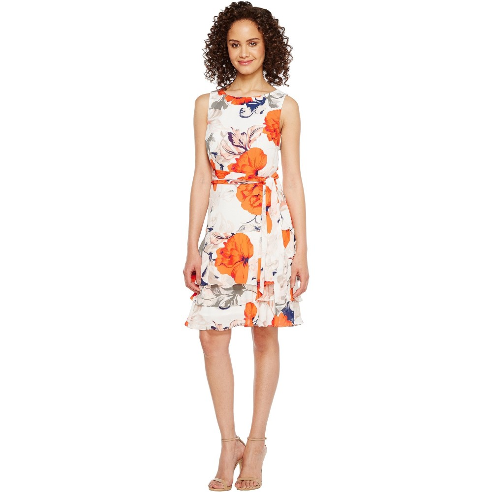イヴァンカ トランプ レディース ワンピース・ドレス ワンピース【Georgette Sleeveless Ruffle Hem Floral Print Belted Tie Dress】Ivory/Chili