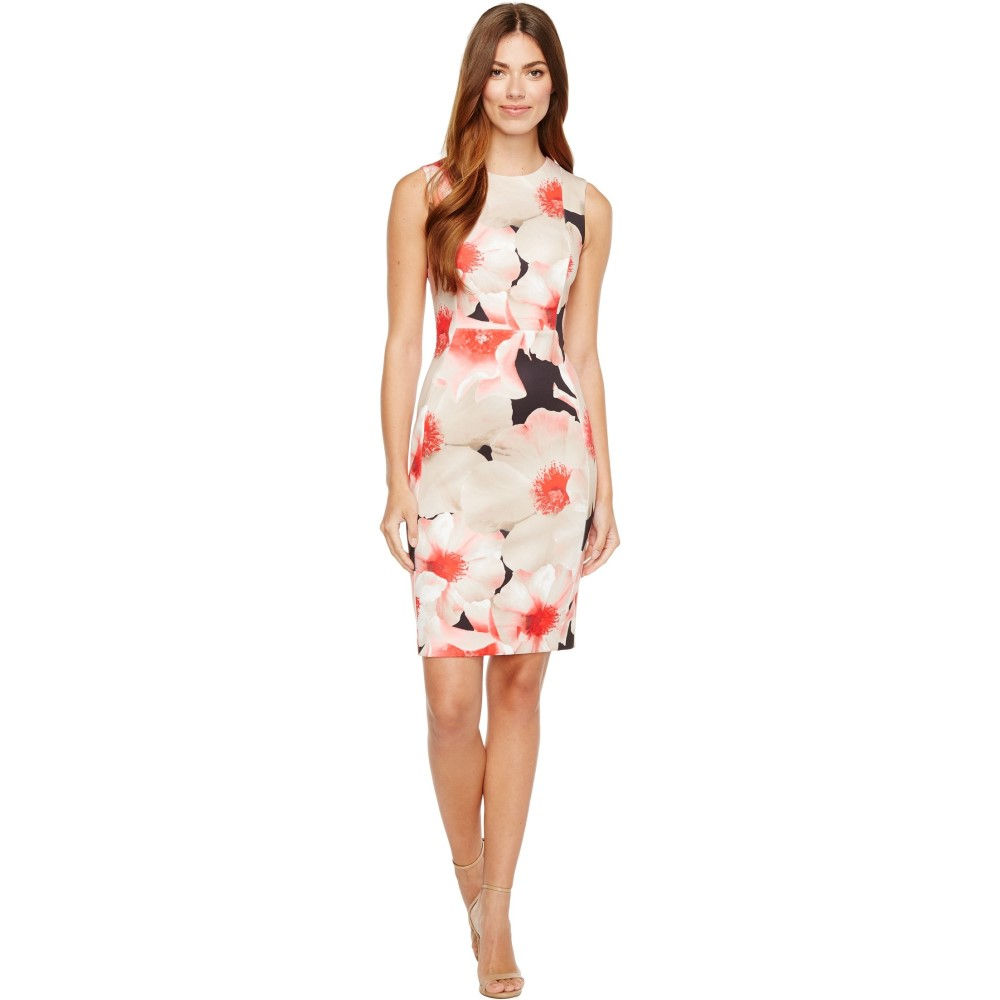 カルバンクライン レディース ワンピース・ドレス ワンピース【Floral Print Sheath Dress】Kahki Multi