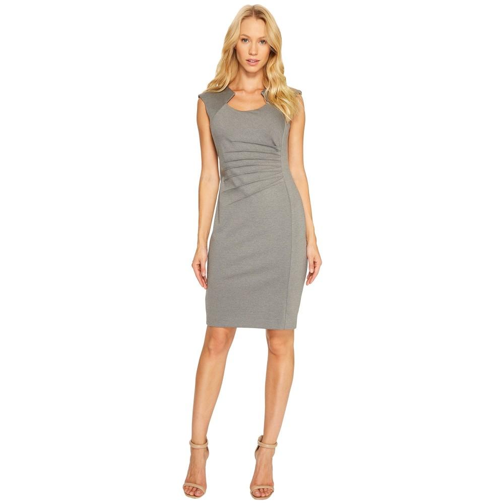 カルバンクライン レディース ワンピース・ドレス ワンピース【Horseshoe Neck Pintuck Detail Sheath Dress】Light Grey