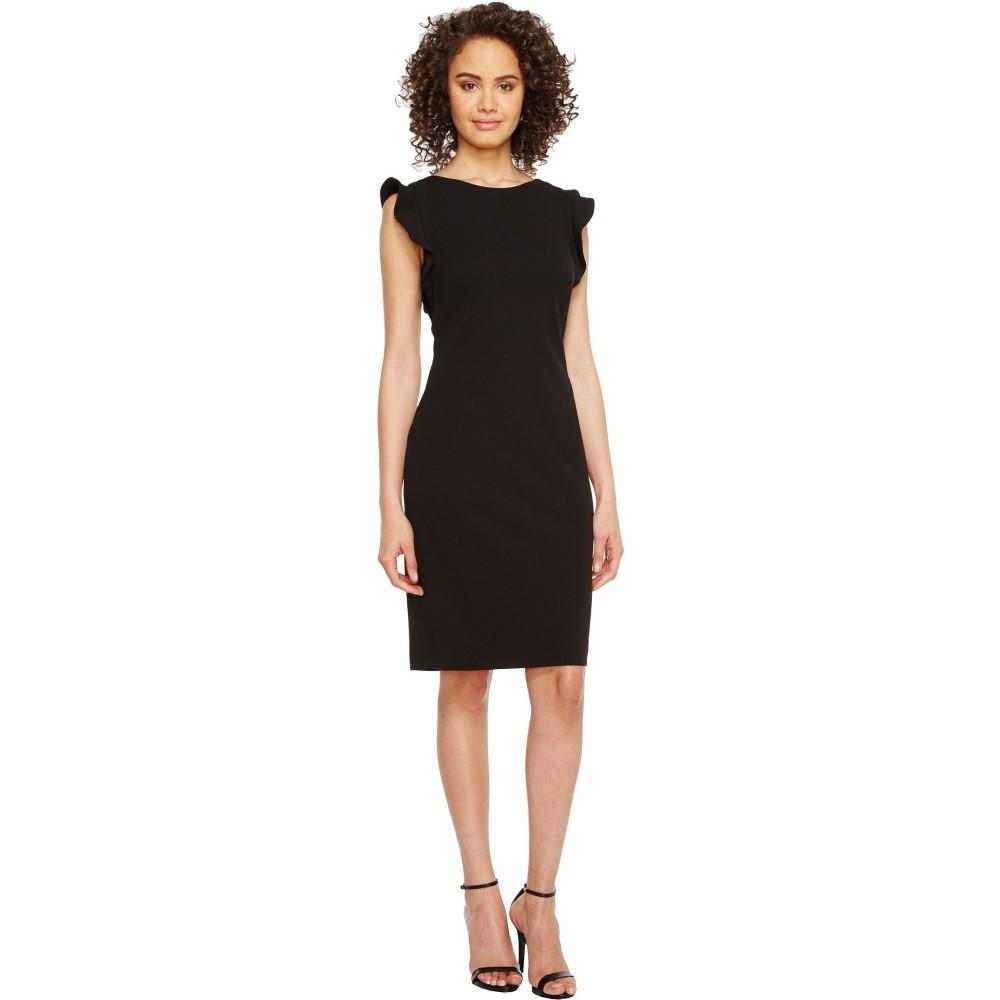 カルバンクライン レディース ワンピース・ドレス ワンピース【Ruffle Sleeve Sheath Dress】Black