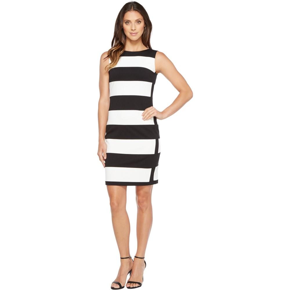 カルバンクライン レディース ワンピース・ドレス ワンピース【Stripe Ponte Sheath Dress】Black/Ivory