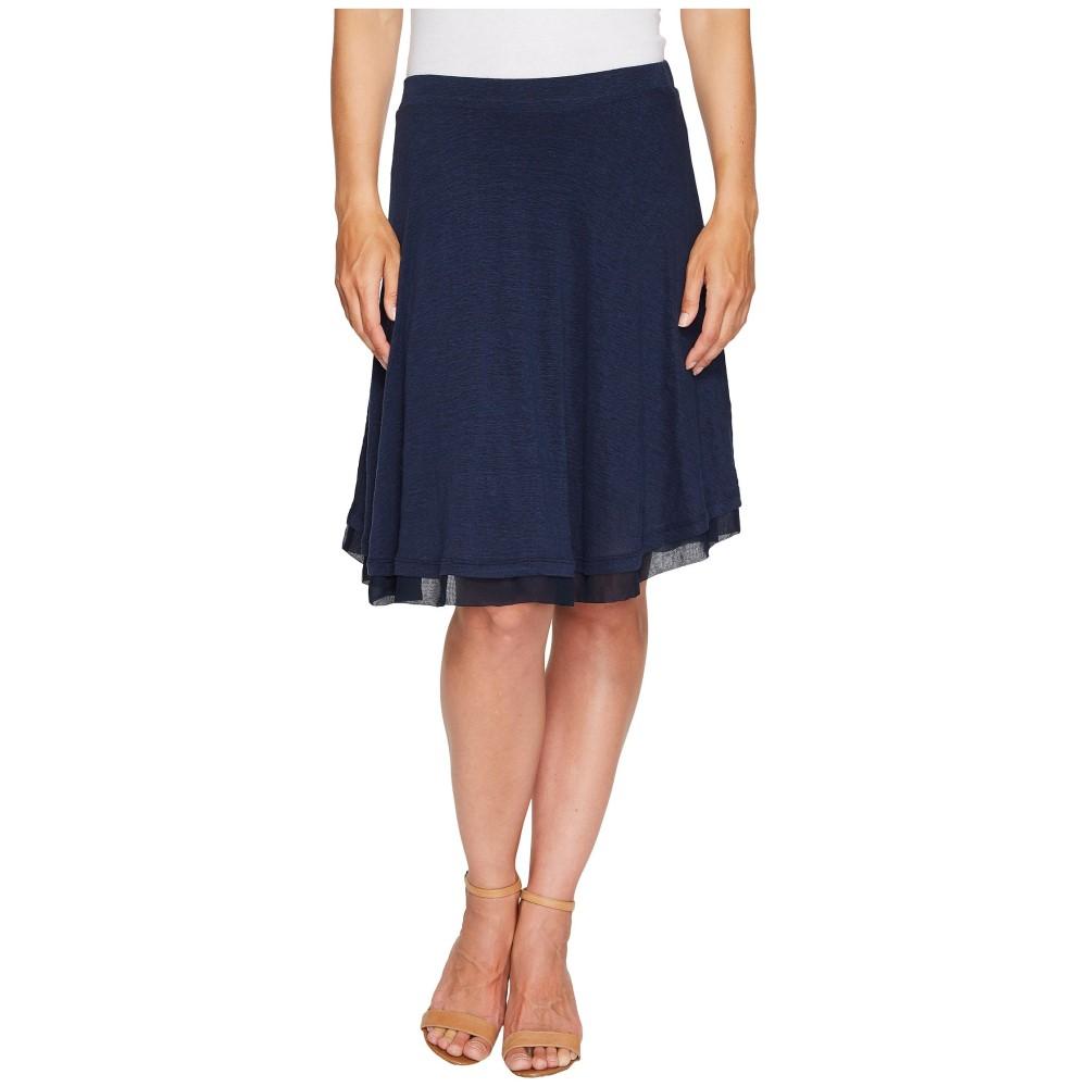 スリードッツ レディース スカート【Linen Jersey Chiffon Trimmed Skirt】Night Iris