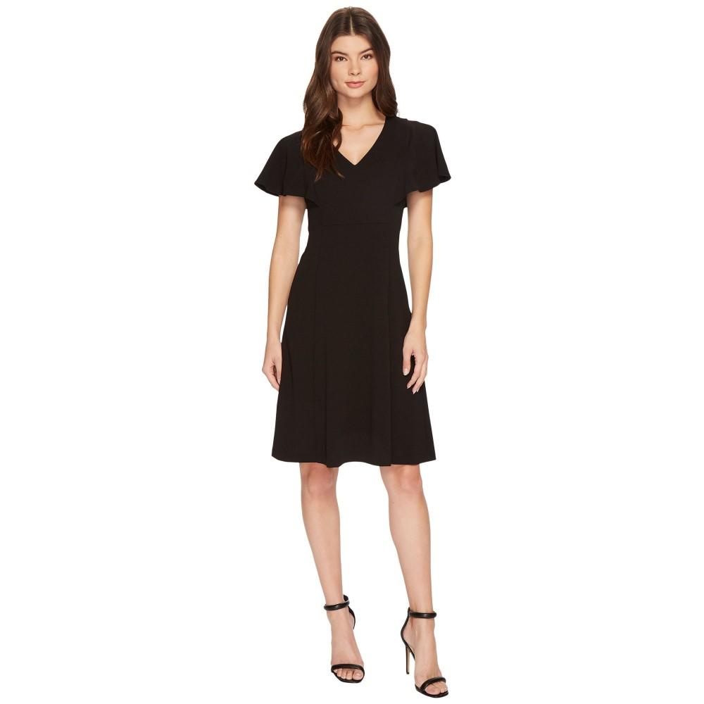 カルバンクライン レディース ワンピース・ドレス ワンピース【V-Neck Flutter Sleeve Fit & Flare Dress CD7C146L】Black