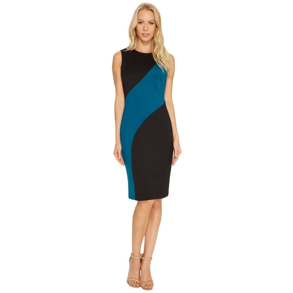 カルバンクライン レディース ワンピース・ドレス ワンピース【Color Block Sheath Dress CD7M126T】Black/Cypress