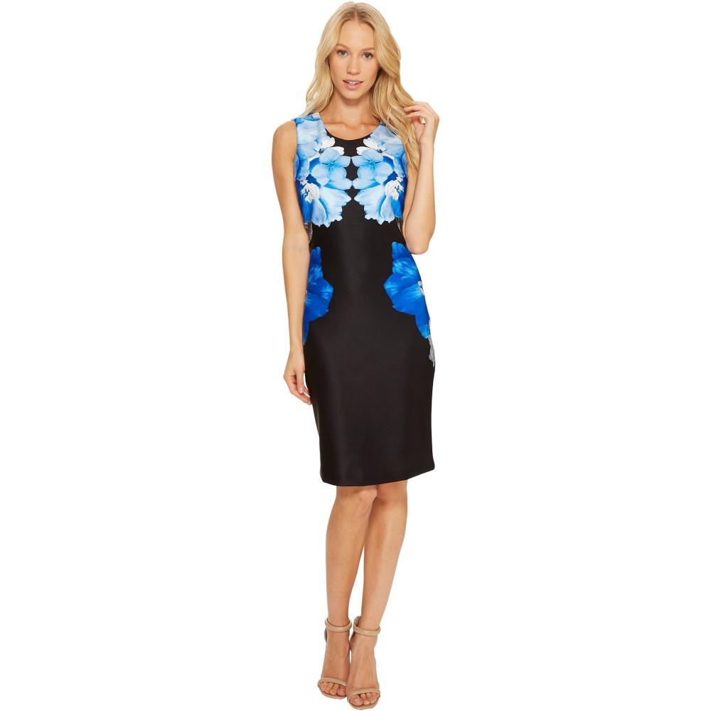 カルバンクライン レディース ワンピース・ドレス ワンピース【Printed Scuba Sheath Dress】Black/Celestial