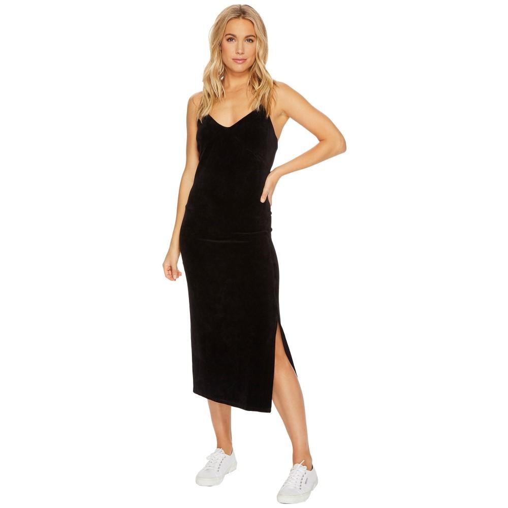 ジューシークチュール レディース ワンピース・ドレス ワンピース【Stretch Velour Cross-Back Slip Dress】Pitch Black