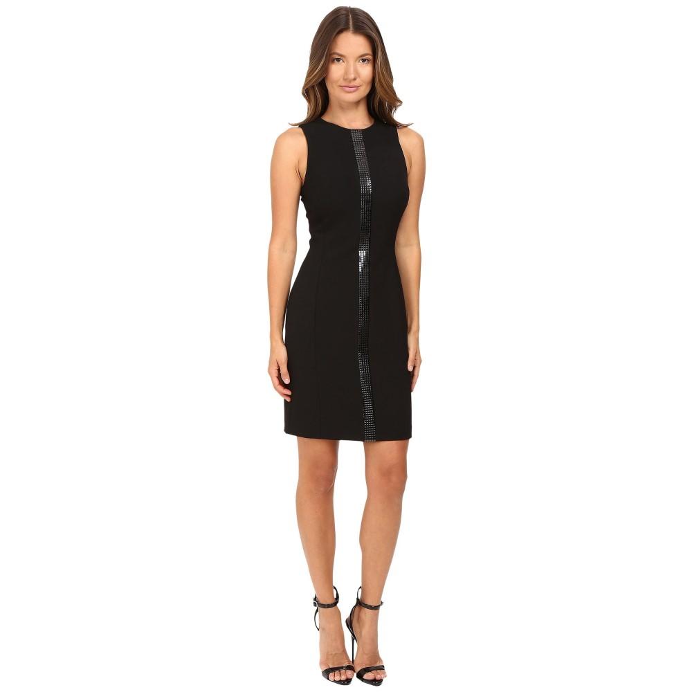 ヴェルサーチ レディース ワンピース・ドレス ワンピース【Crew Neck Sleeveless Dress with Front Embellish】Black