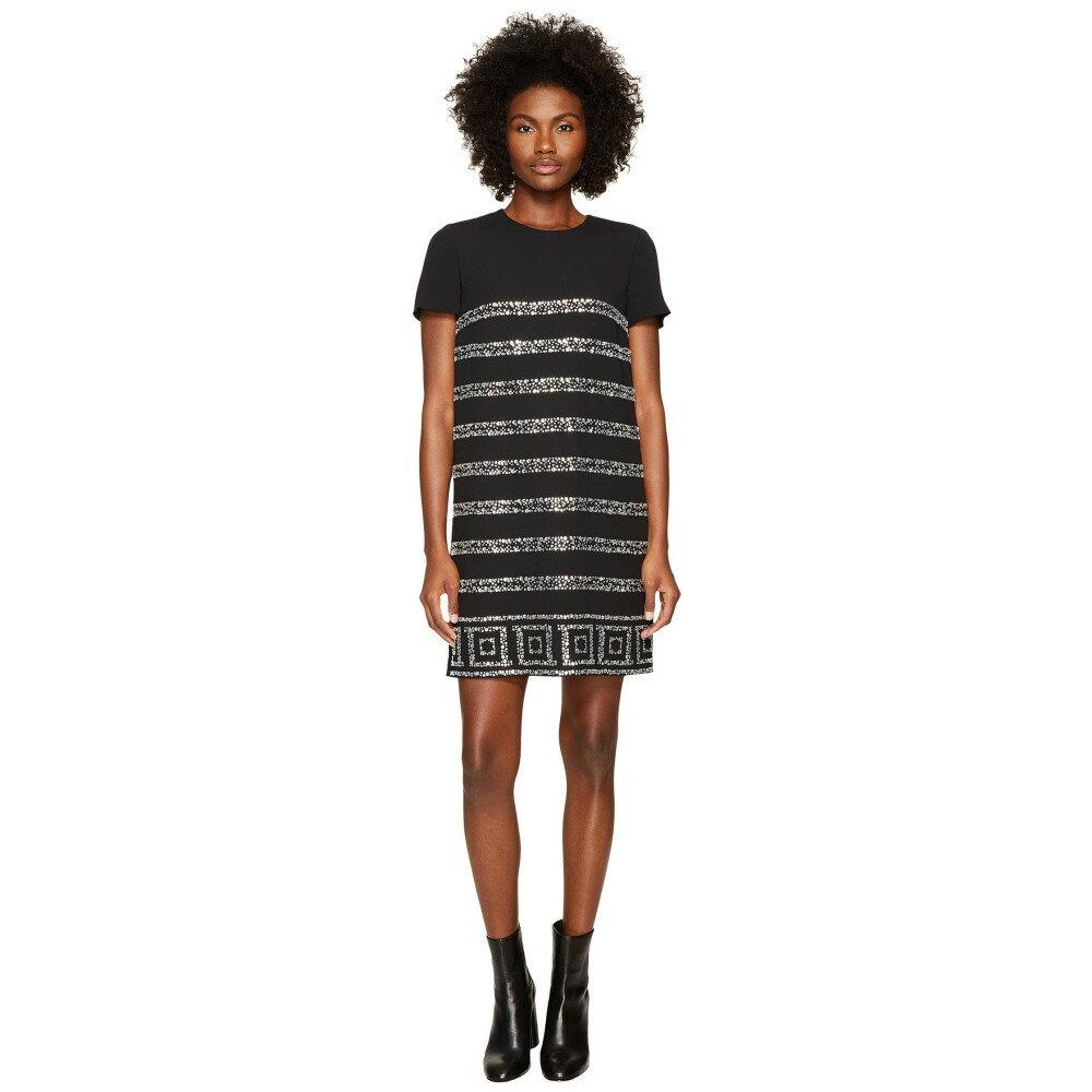 ヴェルサーチ レディース ワンピース・ドレス ワンピース【Short Sleeve Shimmer Striped Dress】Nero Cristallo Silver