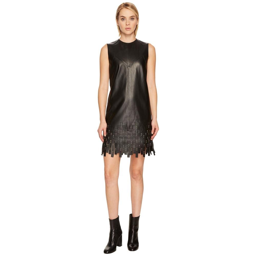 ヴェルサーチ レディース ワンピース・ドレス ワンピース【Leather w/ Fringe Dress】Black