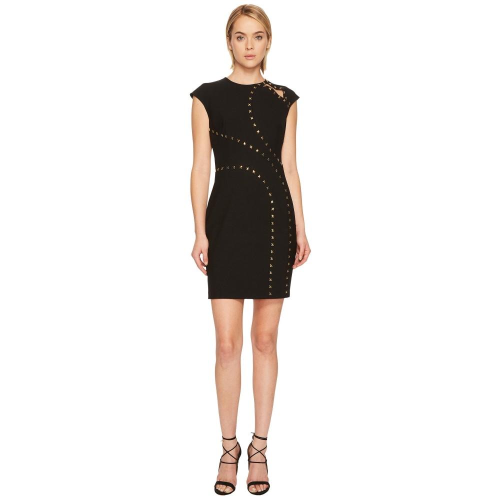 ヴェルサーチ レディース ワンピース・ドレス ワンピース【Studded Cap Sleeve Slit Dress】Black